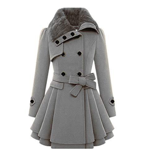 Covermason Femme Manteaux à Capuche Gilet Bouton épais Blouson Hiver Hoodie Veste Jacket Casual Outwear Coat Fleece Manteau (Gray, XL)