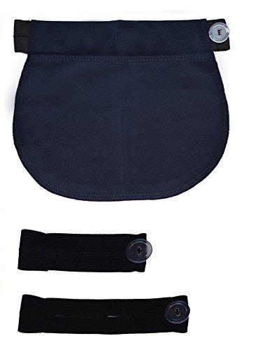 Mija - Juego de 3: Maternidad Embarazo banda de cintura AJUSTABLE extensor elástico de cintura 1028 (Azul)