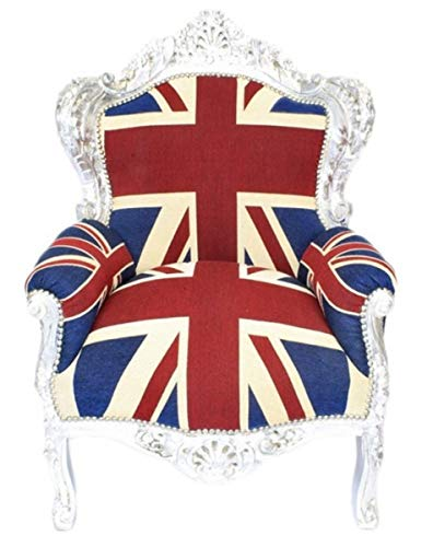 Casa Padrino Barock Sessel 'King' Union Jack/Silber - Möbel Antik Stil- Englische Flagge
