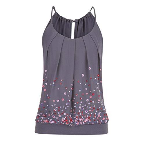 Tank Tops Mode Femmes D'été Lâche sans Manches Débardeur imprimé Floral T-Shirt Chemisier Débardeur Blouse Chic Chemise T-Shirt (Gris,S)