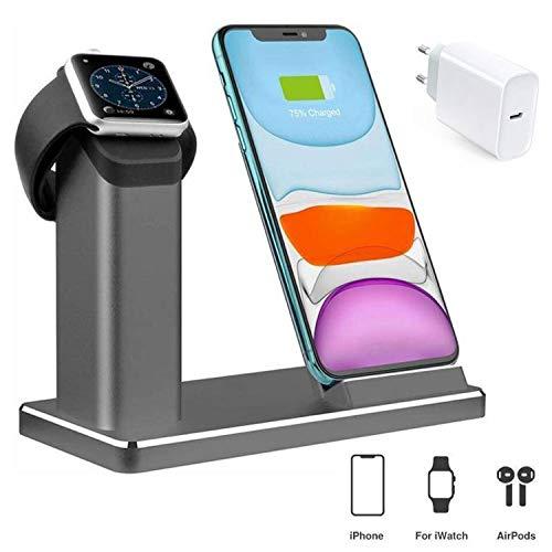 LYASI Kabelloser Ladeständer, 2 in1 Aluminium Dockingstation kabellose Ladeständer Aus mit 18W/USB-C Adapter.15W Wireless Charger, kompatibel Apple Watch 5/4/3/2/1/iPhone 11/Pro Max/X/XS/XR