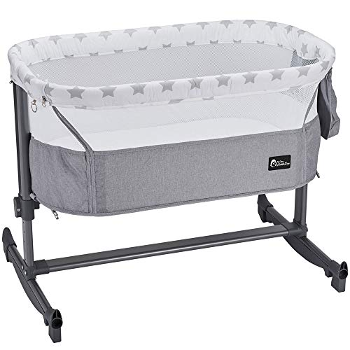 FYLO Bedside Adjustable Rocking Crib - Grey Star