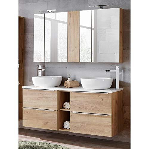 Lomadox Badmöbel Waschtisch Set 140cm, 2 Keramik-Waschbecken & 2 Spiegelschränken, Wotaneiche & Hochglanz weiß