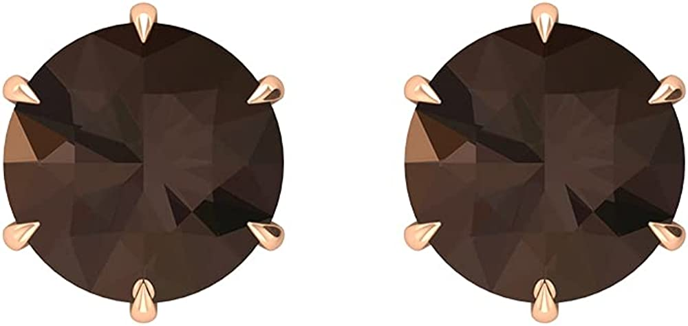 4 CT Claw Set Stud Earrings with Solitaire Smoky Quartz (8 MM Round Shape Smoky Quartz),14K Rose Gold,Smoky quartz