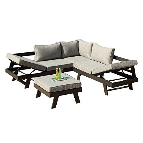 greemotion 128510 Lounge Set Aluminium Panama-Alu Loungeset 3 teilig für Garten & Terrasse-Outdoor Garnitur in Anthrazit & Grau mit 2 Liegen als Eckbank & Hocker, Grau, 22,6 x 7,4 x 6,6 cm