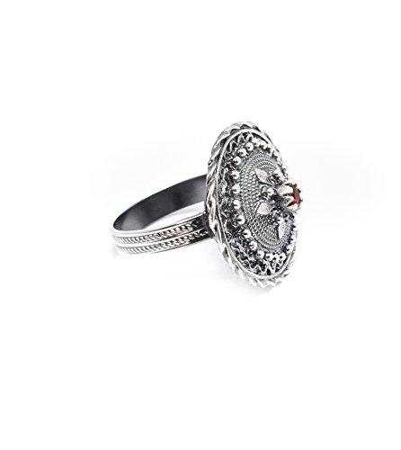 Marrocu Gioielli - Ring Knopf Sardo Silber mit Stein Poliertes Silber