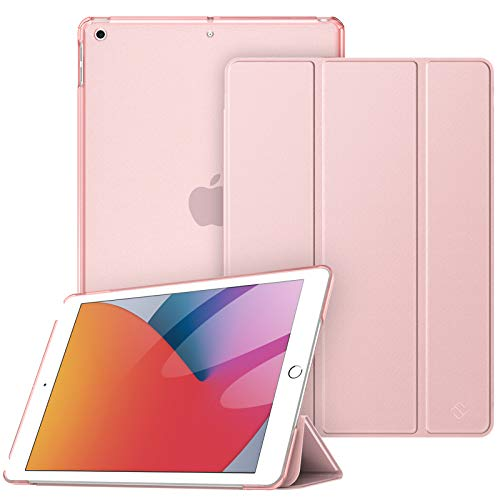 Fintie Funda para iPad 10.2' 2020/2019 - Trasera Transparente Mate Carcasa Ligera con Función de Soporte y Auto-Reposo/Activación para iPad 8/7.ª Generación (Oro Rosa)