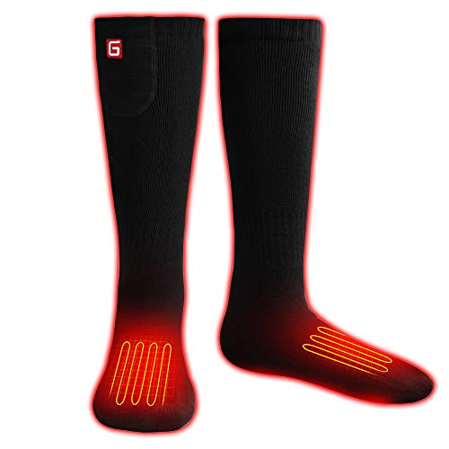Battery Heated Socks Electric Rechargeable Heat Socks Kit Motorcycle Hunting Skiing Cotton Thick Thermal Socks Battery Powered Warm Sox Foot Warmers for Chronically Cold Feet