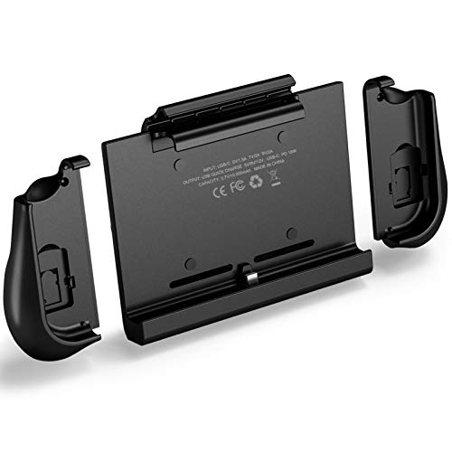Switch Charger, Compatible for Nintendo, 10000mAh Battery case, KKUYI Portable Backup Charger Station Console with a Pair of Joy-Con Grip, with Kick Stand & Game Card Slot Extended Battery Pack