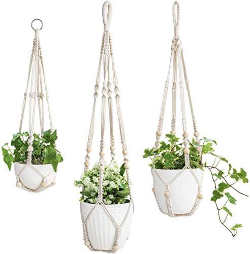 Mkouo 3 Pack Makramee Pflanzenhänger Innen Hängender Pflanzerkorb Blumentopfhalter Baumwollseil with Beads No Tassels, 58cm/73cm/89cm
