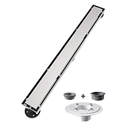 USHOWER 60-Inch Tile Insert Grate Linear Shower Drain, 304 Stainless Steel Brushed Nickel 2-in-1 Shower Floor Drain, Includes Drain Flange Kit