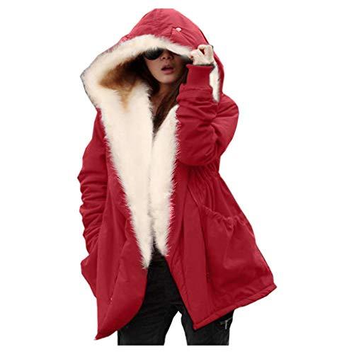 Women Winter Coat,Fashion Casual Women Ladies Thicken Slim Hooded Big Fur Collar Down Pockets Jacket Coat Red