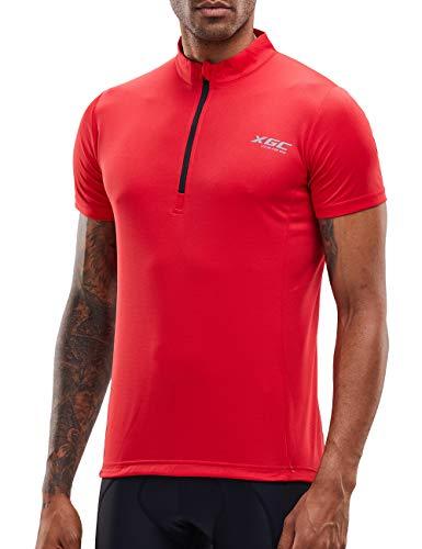 Herren Kurzarm Radtrikot Fahrradtrikot Fahrradbekleidung für Männer mit Elastische Atmungsaktive Schnell Trocknen Stoff (Red, XXXL)