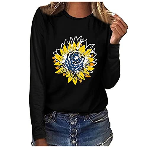 LalalukaT-ShirtDamenSweatshirt Frühling Herbst Rundhals Langarm Sonnenblume Print Große Größe Lassige Bluse Frauen Tshirt Blusen Longshirt Tunika Sweatshirt Kapuzenpulli