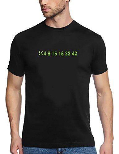Coole Fun T-Shirts Lost 4 8 15 16 23 42 T-Shirt Zahlen, schwarz, Grösse: S