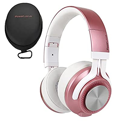 PowerLocus P3 Bluetooth Headphones Over-Ear, [40h Playtime, Bluetooth V5.0] Wireless Headset Hi-Fi Stereo Headphone,Foldable with Mic,Deep Bass,Wired Mode for Cell Phones/Laptop/PC/TV (Matt Rose Gold) from Powerlocus
