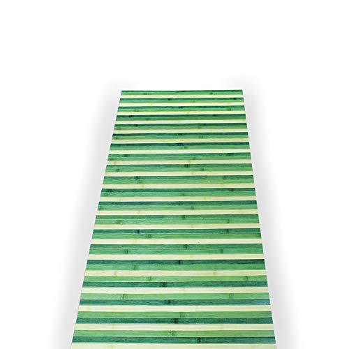 IlGruppone Passatoia per Cucina o Tappeto da Ingresso in Vero Bamboo Naturale 7 Misure 7 Colori - 50x100 cm - Verde