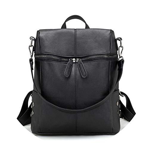 Zaino in pelle di qualità borse scolastiche per adolescenti ragazze grande zaino scuola vintage borse a spalla, Nero (Nero ), Taglia unica