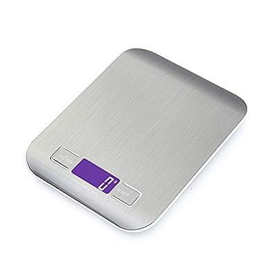 Foto di GPISEN Bilancia da Cucina Smart Digitale con Funzione Tare,5kg/11 lbs Professionale Acciaio Inox Alta Precision Bilancia Elettronica per la Casa e la Cucina,Argento,(2 Batteries Incluse)