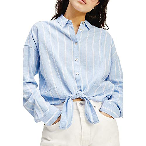 Tommy Jeans TJW Relaxed Front Knot Shirt Chemise, Bleu/rayé, XL Femme