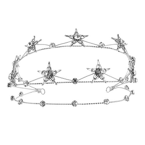 FRCOLOR Corona de Estrella de Diamantes de Imitación Brillante Tiara de Cristal...