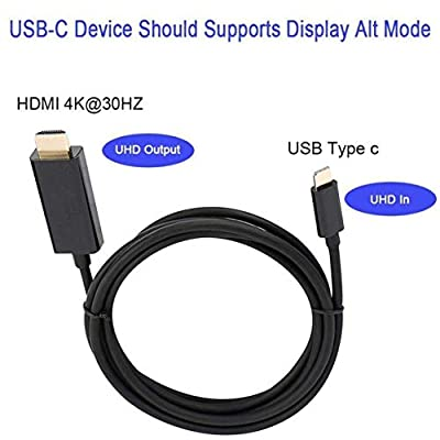 Sylvialuca Type C USB-C to HDMI Cable HD Video Converter 6FT USB 3.1 Fast Data Transmission Adapter For Tablet Laptop