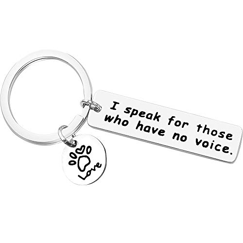 Vet Keychain Gift Veterinarian Graduation Gift I Speak for Those Who Have No Voice Veterinary Medicine Keychain for Veterinary Technician Friend Christmas Birthday Gift Pet Owner Rescue Jewelry