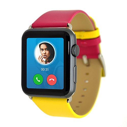 Cinturino Apple Watch,Apple iWatch 42mm Doppio Colore Cinturino in Vera Pelle Fascia di polso di Ficambio con Chiusura in Metallo per Apple Watch Series 3 Series 2 Series 1 Imballaggio Regali [Rose Rosso/Giallo]