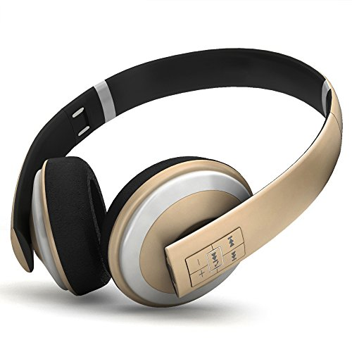 Sgin Wireless Bluetooth Stereo Headphones On Ear Foldable Headset,with Microphone,Lightweight,Comfortable,Powerful Bass(Gold)