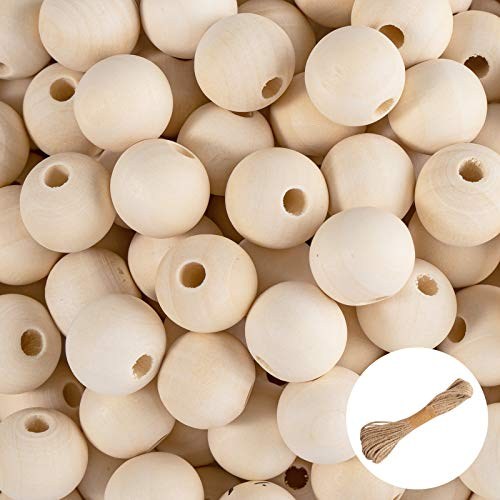 Whaline Wooden Beads 100Pcs 20mm Natural Beads with 33ft Jute Twines Round Wood Beads Garland Hanging Ornaments for DIY Handmade Crafts Jewelry Making Home Christmas Tree Decoration