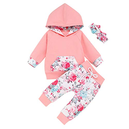 CICIXIXI 3Pcs Infant Toddler Baby Girl Clothes Long Sleeve Hoodie with Pocket Tops Floral Pants Outfits Set with Headband, Ci-pink, 6-12 Months