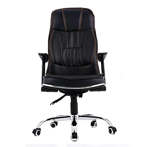 Homdox Ergonomic PU Leather High Back Office Chair with Armrests and Headrest-Black