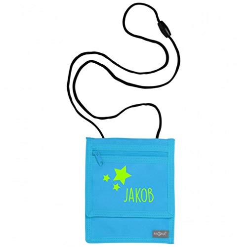 Brustbeutel mit Namen | Motiv Sterne inkl. Namensdruck personalisiert & Bedruckt | Geldbörse Kindergeldbeutel Münzfach für Kinder Jungen Mädchen mit Klettverschluss zum Umhängen (hellblau)