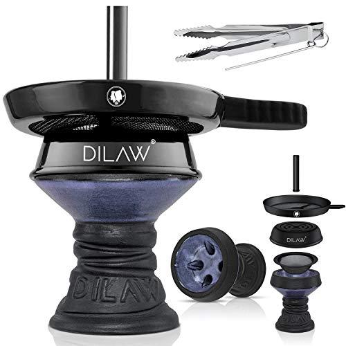 DILAW® Shisha Steinkopf Set Kaminkopf Big Tabaksieb Kohlezange Kaminaufsatz Tabak Kopf, Farbe:Blau