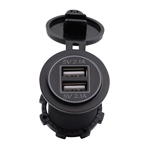 MagiDeal Motcyclette Chargeur USB 2 Port 5V 4.2A Avec LED Lumière Vert Moto Pièce Accessoire Électronique Embarqué