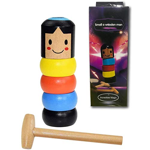 FengleMa Unbreakable Wooden Man Magic Toy,Stubborn Wood Man Magic Trick Props Children Kids Magia Easy Doing Gift for Halloween Christmas (Style 1)