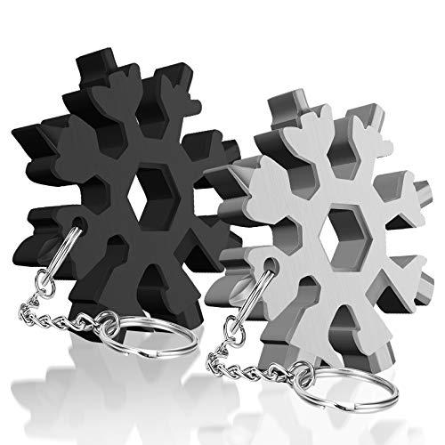 20 in 1 Schneeflocke Multitool mit Schlüsselring, Nützliche Lichtwerkzeuge, Tägliches Barbecue-Werkzeug im Freien, Praktische Geschenke für Vater Ehemann Männer Männliche Freunde, Weihnachten