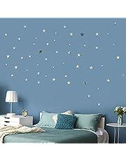 60 Pcs Pegatinas de Pared Estrella Espejo de Acrílico Adhesivos 3 Tamaños DIY Decoración Hogar para Sala de Estar Habitación Armario Pared de Dormitorio (Plateado) (Plateado)