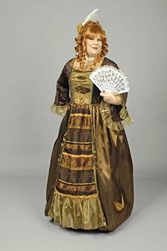 Festartikel Hirschfeld Nobles Barock-Kleid Damenkostüm Plus Size braun-Gold XL