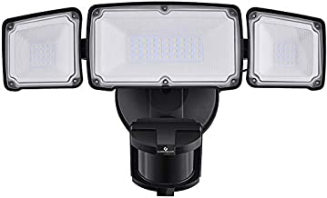 3500LM LED Security Lights, 35W Motion Sensor Light Outdoor, GLORIOUS-LITE Super Bright 3Head Motion Security Light, IP65 Waterproof, ETL Certified Exterior Flood Light for Garage Yard(NO Solar Power)