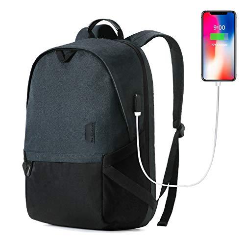 Laptop Backpack, BAGSMART 15.6 Travel Backpack with USB Charging Port for Men Women Durable Water Resistant, Black