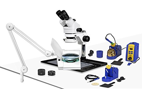 Parco Scientific PA-10FZ-IFR07-SD3Simul-FocalTrinocular Stereo Zoom 7x-45x Microscope w/Hakko Single Port Solder StationFX-951 and Micro-Soldering Kit FM-2032,Magnifier Lamp,Cellphone Repair Platform