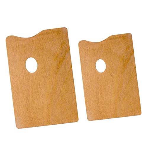 menolana 2Pcs Wooden Painting Palette Classic Oil/Acrylic Mixing Tray Art Supplies