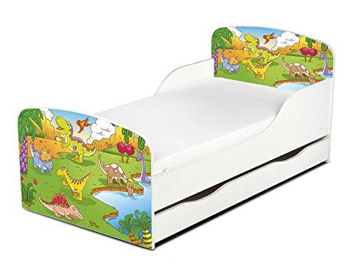 Leomark Letto per bambini in legno, cassetto e materasso, rete a doghe, mobili per bambino, magnifiche stampe, dimensioni del materasso 140 x 70 cm, colore bianco con motivo: DINOSAURI