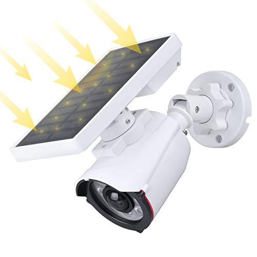 Luces Solares Led Exterior, AOTTOM Farola Solares Exterior 8 LED Inalámbrico Lamparas Solares Avec Détection de Mouvement, Cámara de Vigilancia Falsa con LED IR, Impermeable IP66