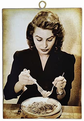 KUSTOM ART Cuadro de estilo vintage de los famosos «Sofia Loren» con diseño de comida, de espaguetis, impresión sobre madera, para decoración de restaurantes, pizzerías, bares, hoteles, etc.