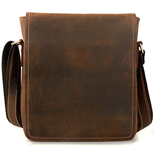 Jack&Chris Man Messenger Bag, Leather Man Purse Flapover Shoulder Bag Mens Leather Bag for Work Business School