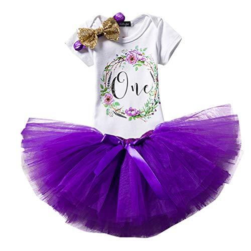 NNJXD NNJXD Mädchen Newborn Crown Tutu 1. Geburtstag 3 Stück Blume Outfits Strampler + Rock + Stirnband Größe 1 Jahre Lila