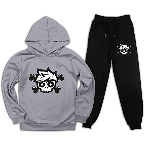 Youth Crai-Ner Pullover Hoodie und Sweatpants Anzug für Jungen Mädchen 2-teiliges Outfit Mode Sweatshirt Set Gr. M, Grau / Schwarz