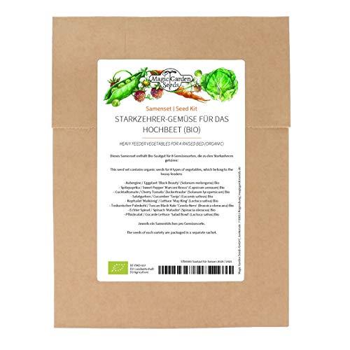 Starkzehrer-Gemüse für das Hochbeet (Bio) - Samenset mit 8 Gemüsesorten für das erste Jahr im Fruchtwechsel